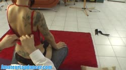 Tattooed rebel chick doing sexy lapdance