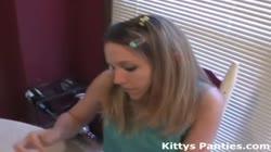 Cute teen Kitty playing with playdough